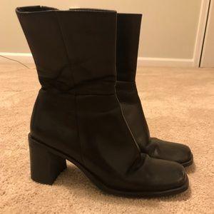 Genuine Leather Black block heel boots
